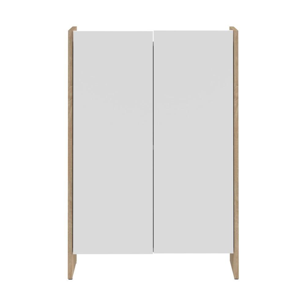 Bílá koupelnová skříňka s hnědým korpusem TemaHome Biarritz, výška 89,5 cm