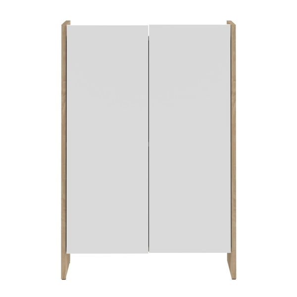 Biela kúpeľňová skrinka s hnedým korpusom TemaHome Biarritz, výška 89,5cm