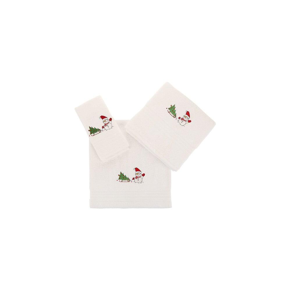 Sada 3 bílých vánočních ručníků Snowy