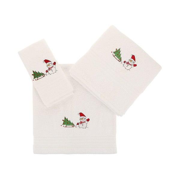 Zestaw 3 białych świątecznych ręczników Snowy