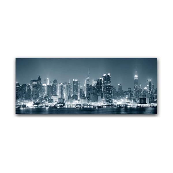 Tablou imprimat pe pânză argintie Styler Manhattan, 150 x 60 cm