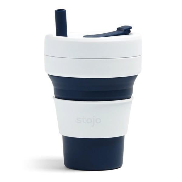 Bílo-modrý skládací hrnek Stojo Biggie Indigo, 470 ml