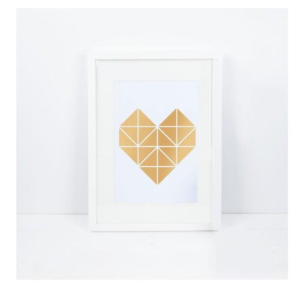 Plakát Origami Herz Gold, A3