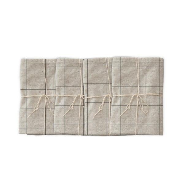 Blue Lines 4 db szövet szalvéta lenkeverékkel, 43 x 43 cm - Linen Couture