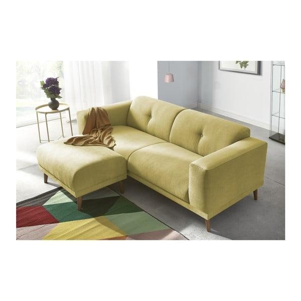 Canapea cu 3 locuri și suport pentru picioare Bobochic Paris Luna, galben