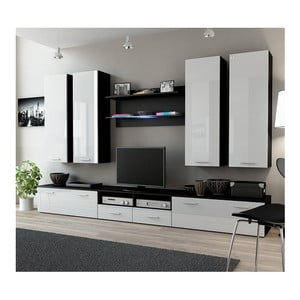 Obývací stěna Rea 3, wenge/bílý lesk