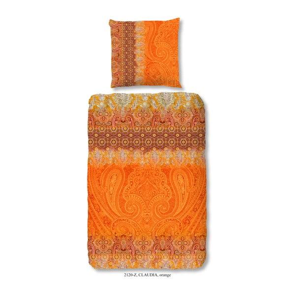 Povlečení na jednolůžko z bavlněného saténu Muller Textiels Sangria, 140 x 200 cm
