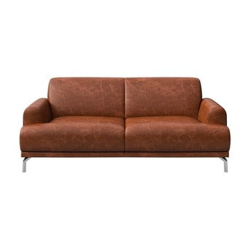 Canapea din piele cu 2 locuri MESONICA Puzo maro coniac