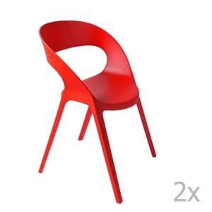 Sada 2 červených zahradních židlí Resol Carla