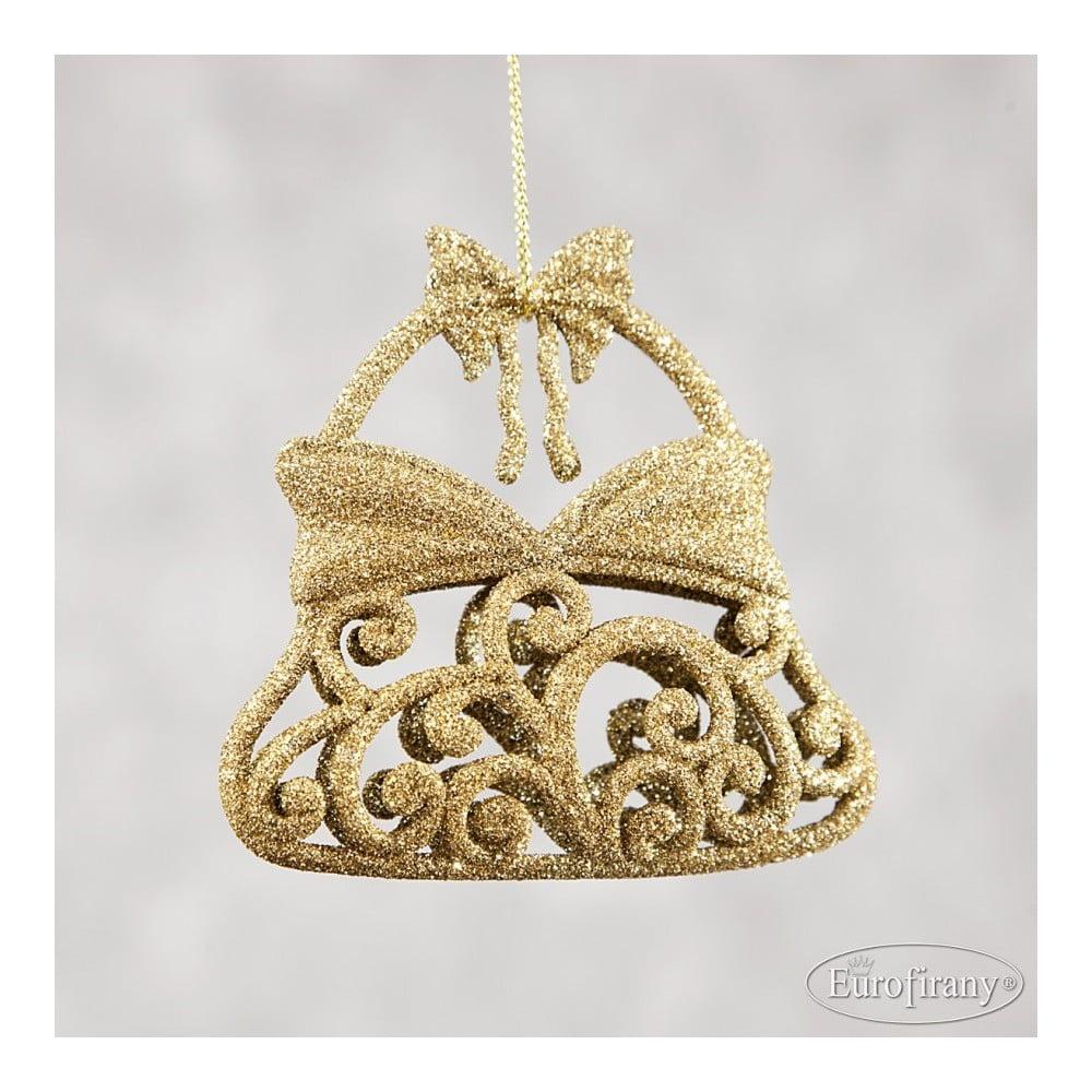 Sada 6 plastových vánočních ozdob ve zlaté barvě DecoKing Bell