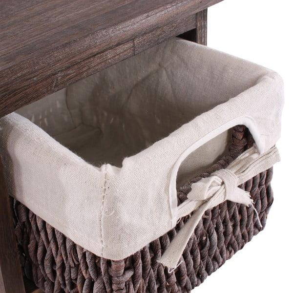 Hnědý dřevěný regál se 3 košíky Mendler Shabby