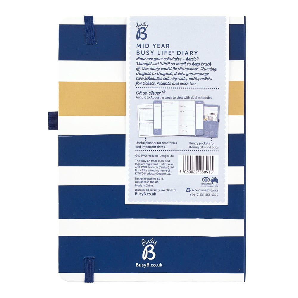 Busy B 2019-20 Mid Year Busy Life Diary with dual schedules and pockets