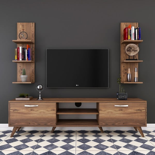 Wren 2 db fali polc és TV-állvány fa dekorral