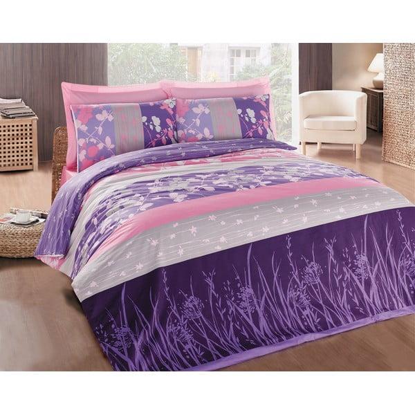 Povlečení Elvira Purple, 200x220 cm s prostěradlem