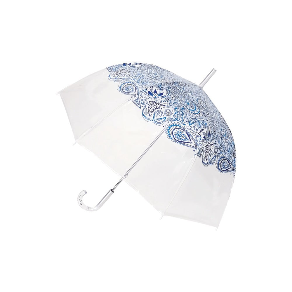 Transparentní holový deštník odolný vůči větru Ambiance Blue Paisley, ⌀85cm