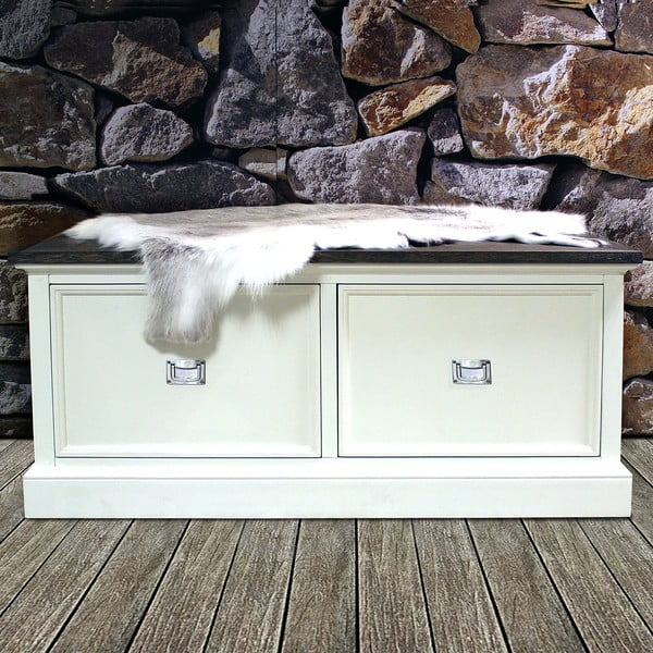 Bílá lavice Canett Skagen, 2 zásuvky