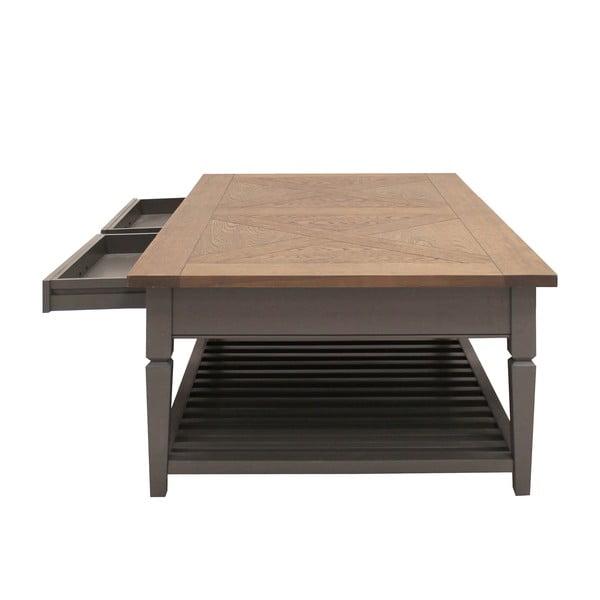 Šedý konferenční stolek se 2 zásuvkami Canett Royal