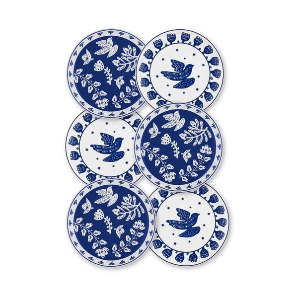 Sada 6 bílo-modrých porcelánových dezertních talířů Mia Bloom, ⌀ 19 cm