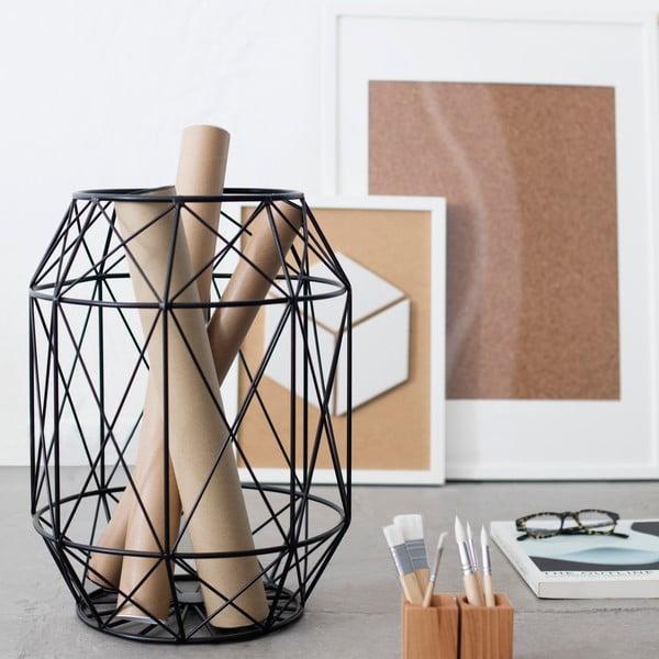 Černý stolek/stojan s dřevěnou deskou HF Living Dome