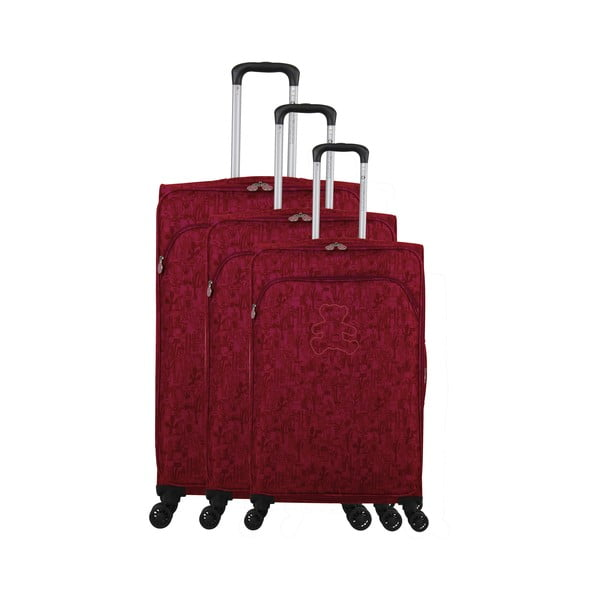 Zestaw 3 bordowych walizek z 4 kółkami Lulucastagnette Casandra