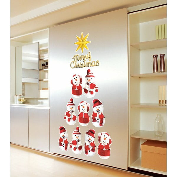 Zestaw 11 naklejek świątecznych Ambiance Snowmen