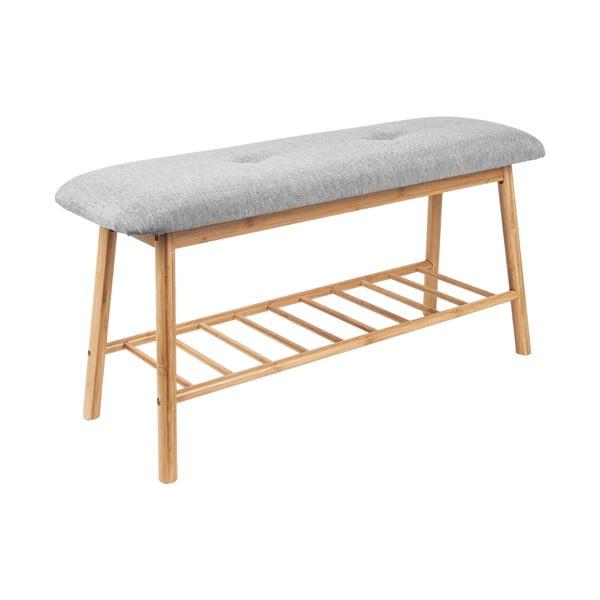 Bambusová lavica so sivým vankúšom na sedenie Leitmotiv Bench