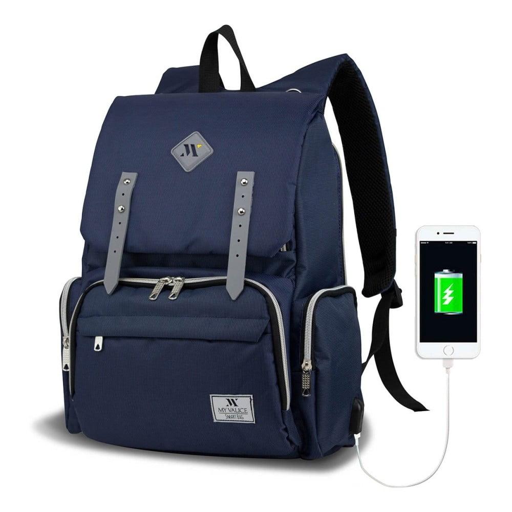 Tmavě modrý batoh pro maminky s USB portem My Valice MOTHER STAR Baby Care Backpack