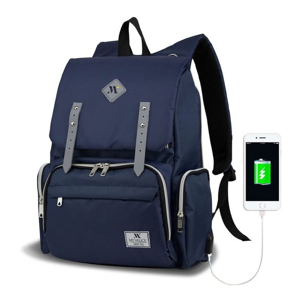 Ciemnoniebieski plecak dla mam z USB My Valice MOTHER STAR Baby Care Backpack