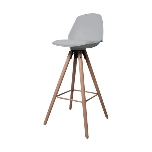 Šedá barová židle s podnožím z dubového dřeva Actona Oslo