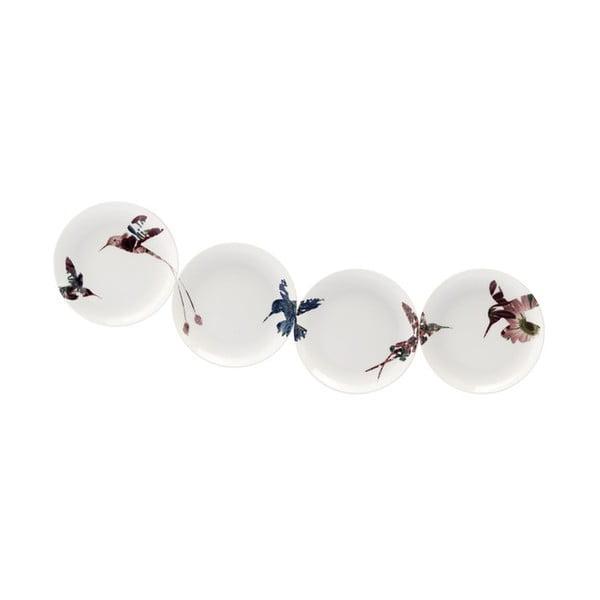 Sada 4 porcelánových dezertních talírů Flutter, 14 cm