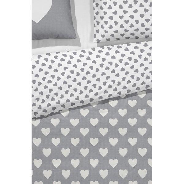 Povlečení Hearts Grey, 200x200 cm, šedé