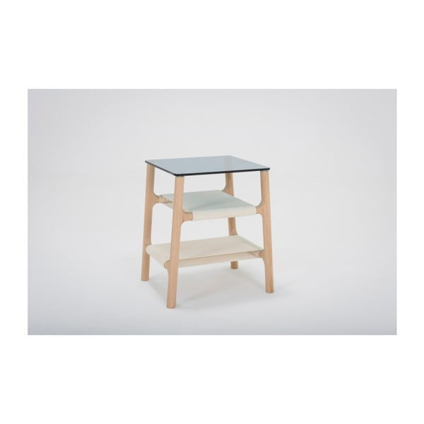 Odkládací stolek s konstrukcí z masivního dubového dřeva a petrolejovou deskou Gazzda Fawn