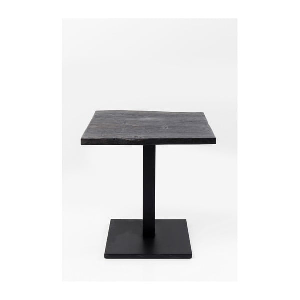 Černý jídelní stůl s deskou z akáciového dřeva Kare Design Nature, 70 x 70 cm