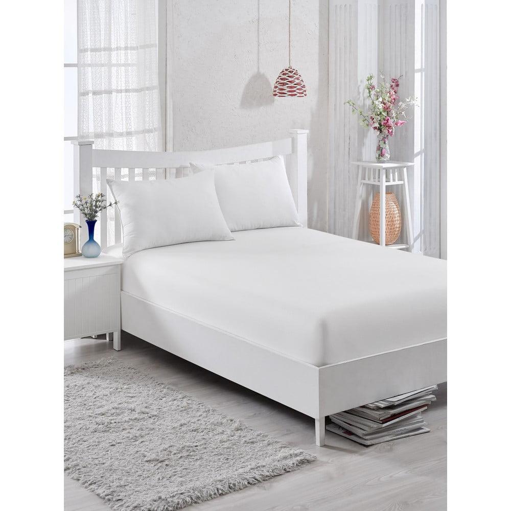 Bílé bavlněné elastické prostěradlo EnLora Home Orme Penye White, 100 x 225 cm