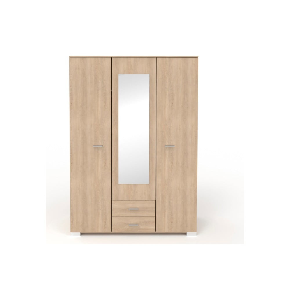 Třídveřová šatní skříň v dekoru dubového dřeva se 2 zásuvkami a zrcadlem Parisot Alix