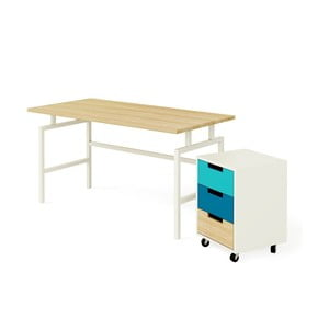 Stůl Studioo s kontejnerem, modrý