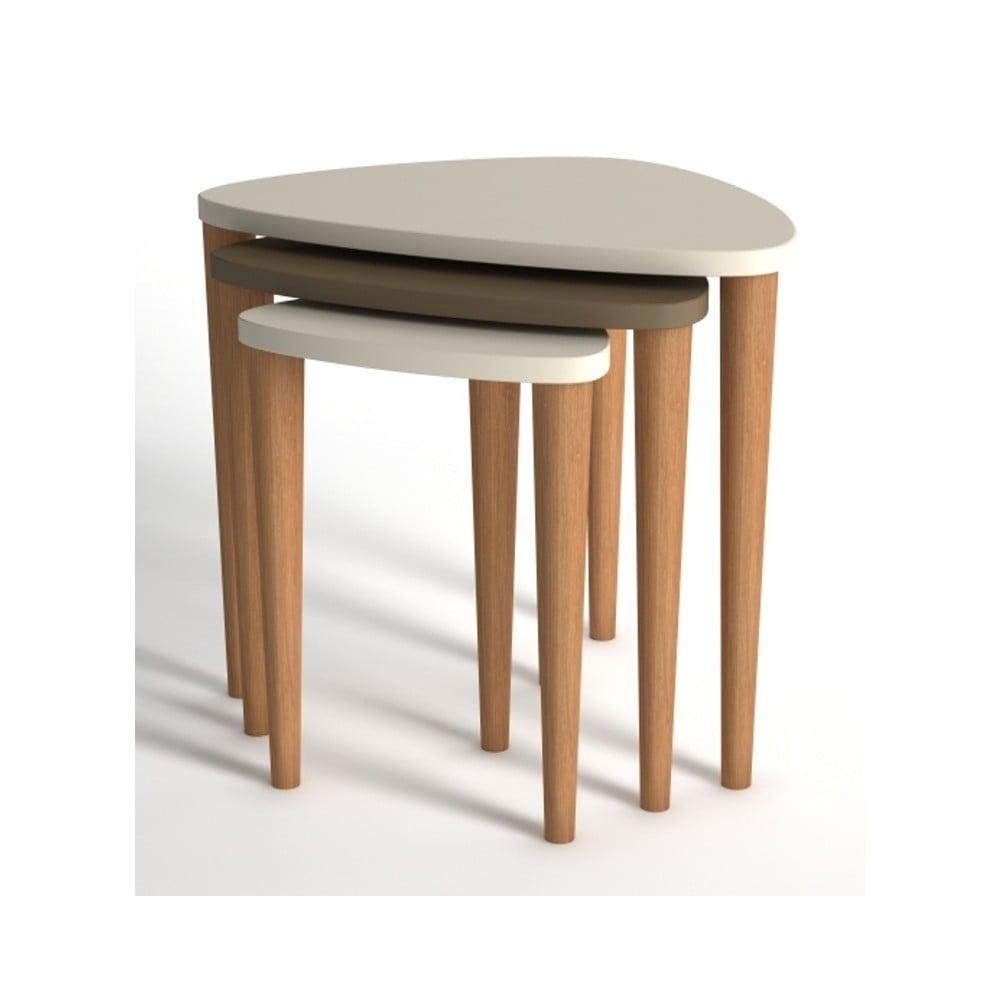 Sada 3 konferenčních stolků v krémové a hnědé barvě Monte Piga