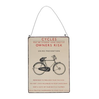 Tăbliță de perete retro Rex London Bicycle, 17 x 23 cm