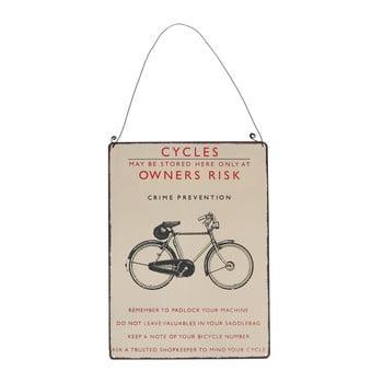 Tăbliță de perete retro Rex London Bicycle, 17 x 23 cm imagine