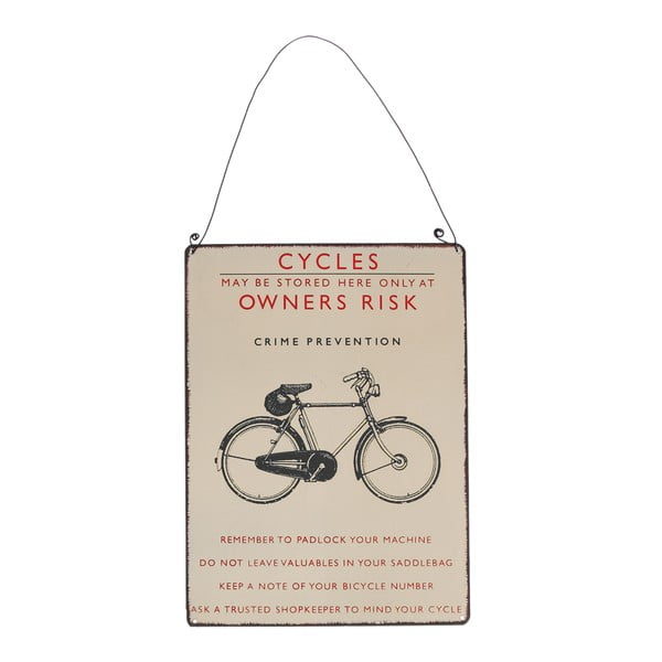 Bicycle retró biciklis falitábla, 17 x 23 cm - Rex London