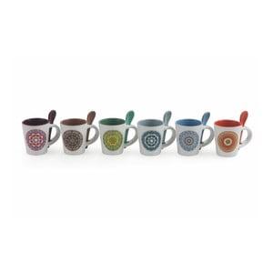 Set 6 căni din ceramică cu linguriță Villa d'Este Cala, 90 ml