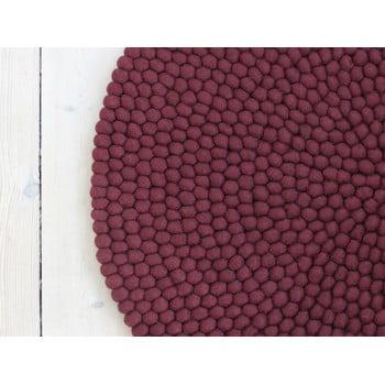 Covor cu bile din lână Wooldot Ball Rugs, ⌀ 90 cm, vișiniu închis