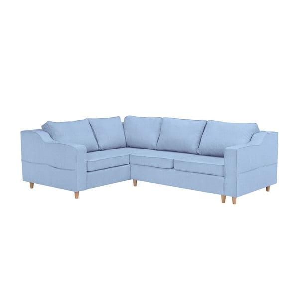 Jasnoniebieska rozkładana 4-osobowa sofa Mazzini Sofas Jonquille, lewostronna