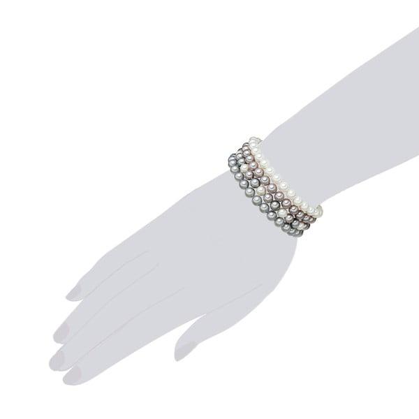 Brățară cu 4 rânduri și cu perle gri albe Perldesse Muschel, ⌀ 6 mm, lungime 19 cm