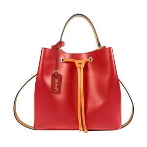 Červená kožená kabelka s oranžovým detailem Maison Bag Lexy