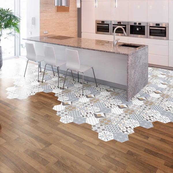 Sada 10 samolepiek na podlahu Ambiance Floor Stickers Hexagons Juliana, 40×90 cm