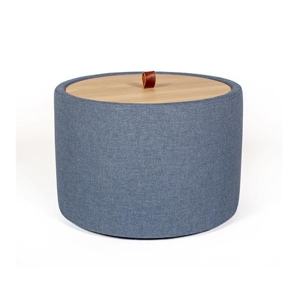 Ibisco farmerkék tárolóasztal, levehető tölgyfa asztallappal, ⌀ 56 cm - Askala