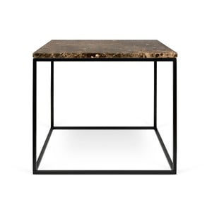 Hnědý mramorový konferenční stolek s černými nohami TemaHome Gleam, 50 cm