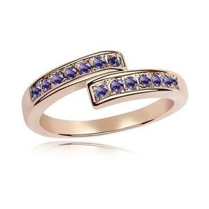 Prsten s fialovými krystaly Swarovski a růžovým zlatem Letticia, velikost 52