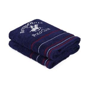 Sada 2 tmavě modrých ručníků, 90 x 50 cm